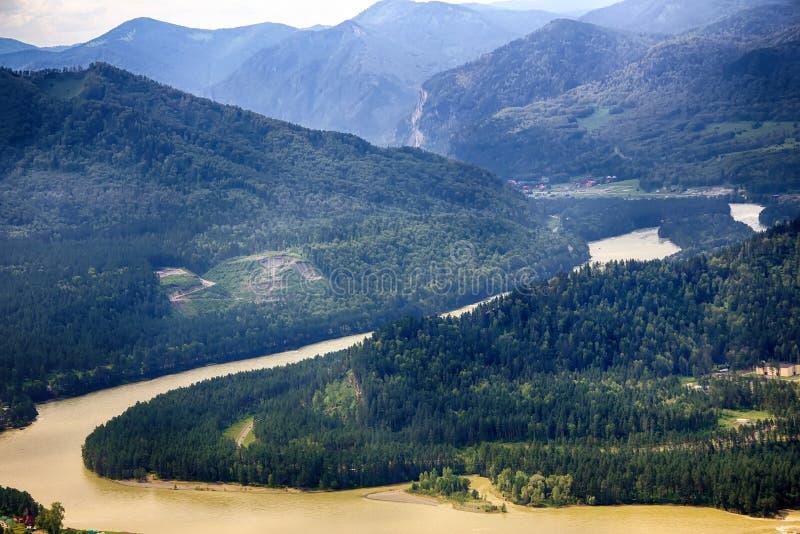 山河在夏天,阿尔泰山,俄罗斯美丽的景色  免版税库存照片