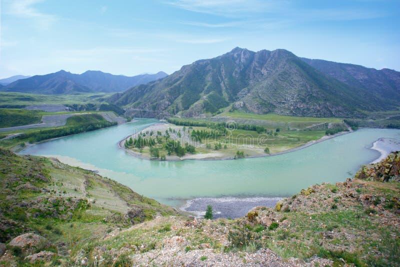 山河谷全景风景 图库摄影