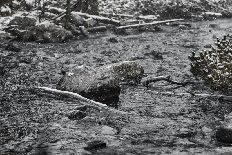 山河风景在冬天 风雨如磐的水 图库摄影