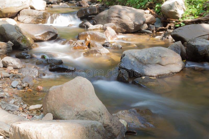 从山流动下来的瀑布 免版税库存图片