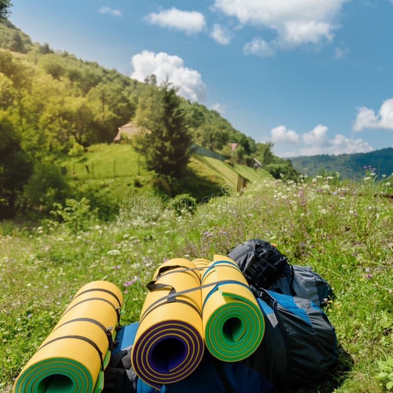 山游览的设备 免版税库存图片