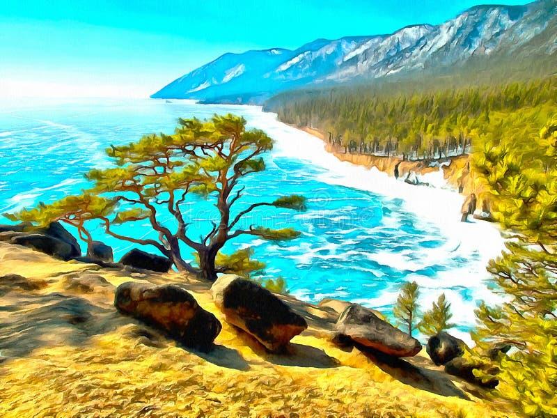 山湖的山和岸风景  皇族释放例证