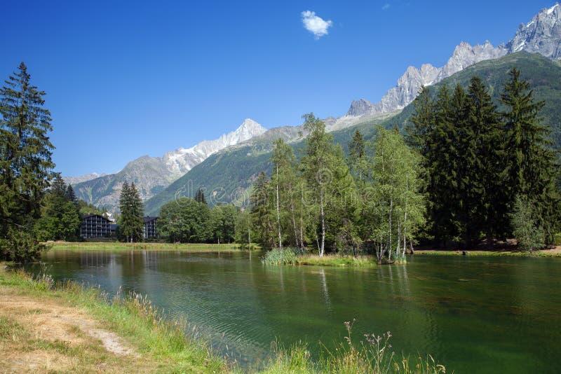山湖看法在阿尔卑斯 库存照片