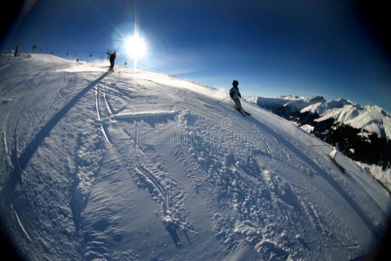 山滑雪的瑞士 免版税库存图片