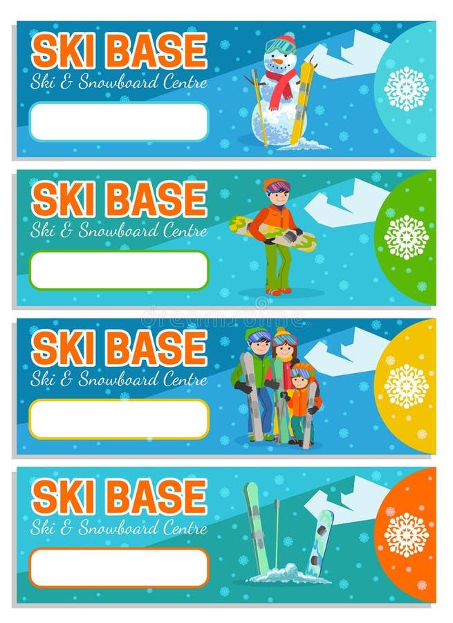 山滑雪者冬季体育飞行物设计模板 雪板运动和滑雪在飞行物 也corel凹道例证向量 免版税库存图片