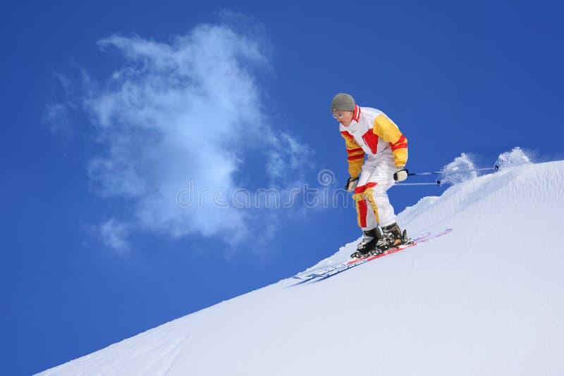 山滑雪者 免版税库存图片