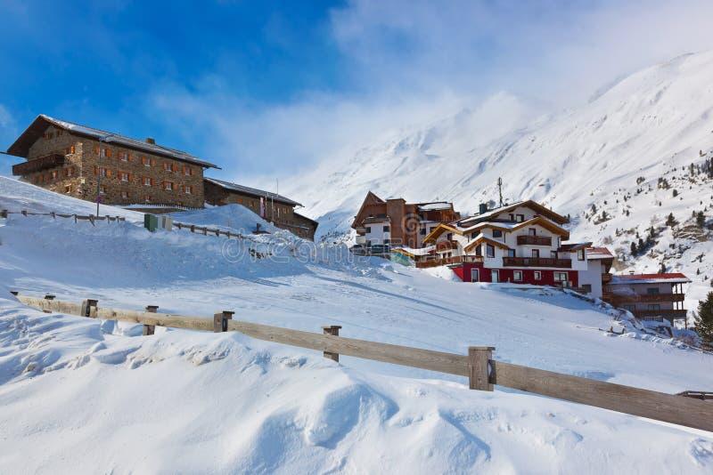 山滑雪胜地Obergurgl奥地利 免版税图库摄影