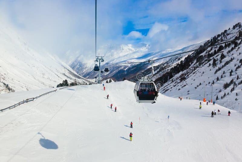 山滑雪胜地Obergurgl奥地利 库存照片
