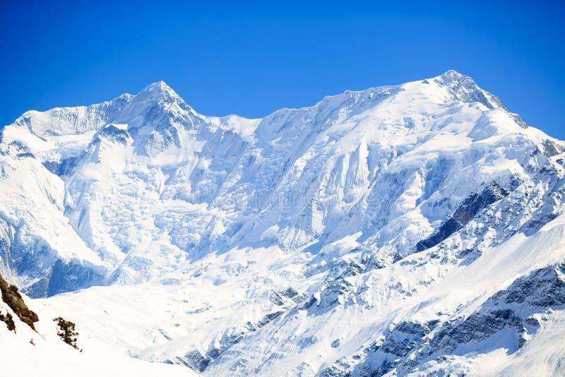 山激动人心的风景,安纳布尔纳峰范围尼泊尔 库存图片