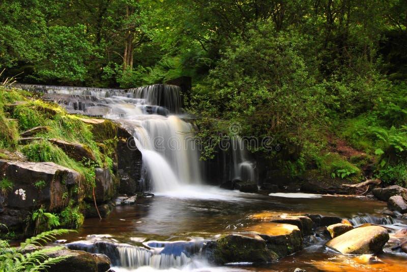山瀑布,南威尔士 免版税库存照片