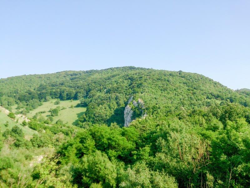 山环境美化在清楚的每日天空下没有云彩 库存照片