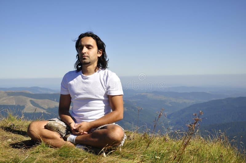 山瑜伽 免版税库存照片