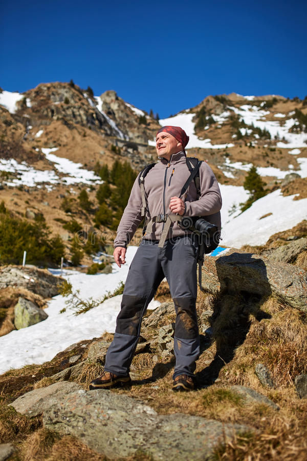 山的专业自然摄影师 库存图片