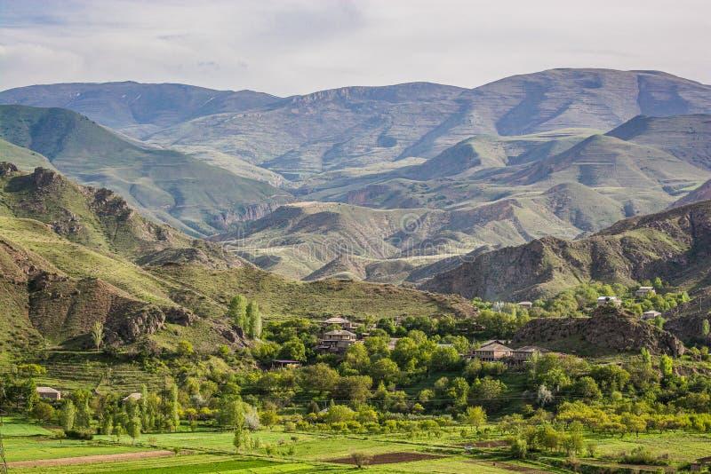 山的亚美尼亚村庄Agarakadzor,亚美尼亚 库存图片