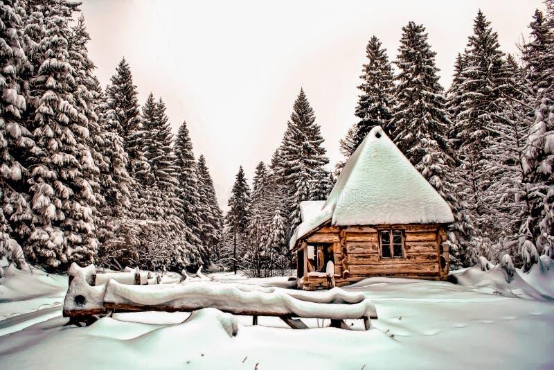 山的冬天房子 库存图片