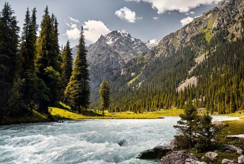 山的卡拉科尔河 免版税图库摄影