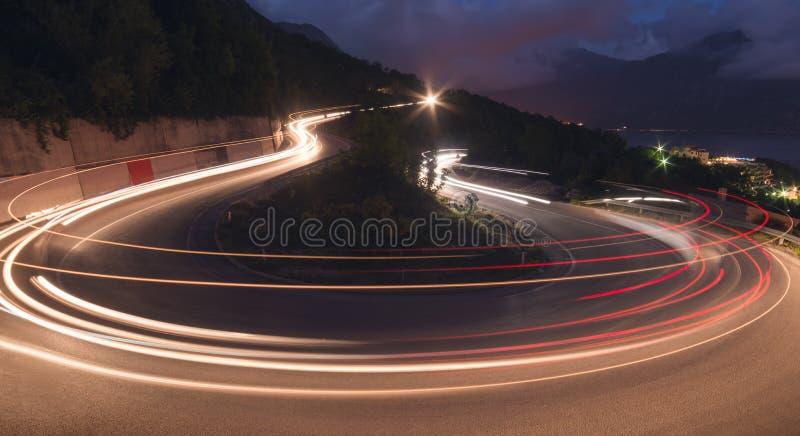 黑山的夜路 图库摄影