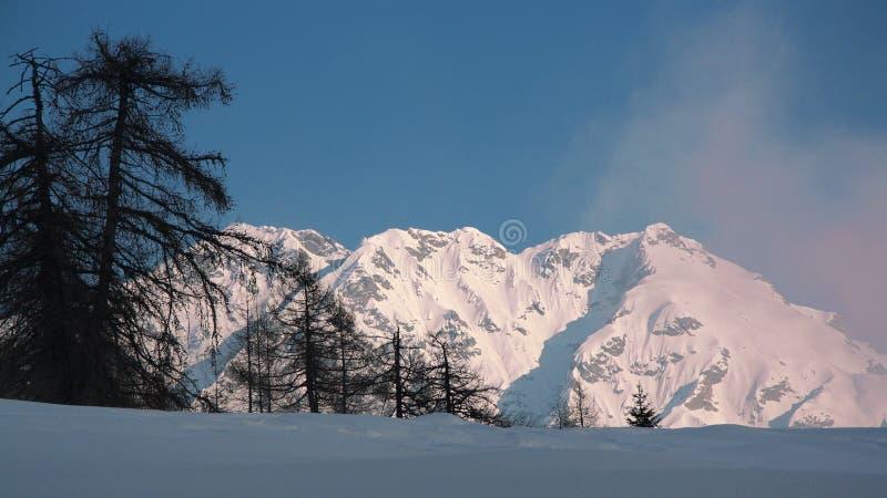 山的峰顶在whinter的 免版税图库摄影