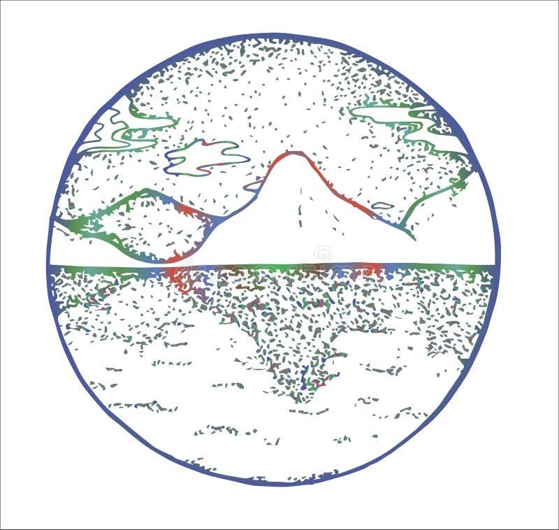 山的彩色插图和对称反射他们在水中 库存例证