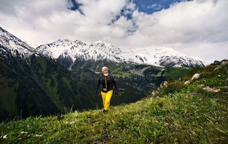 山的徒步旅行者 库存照片