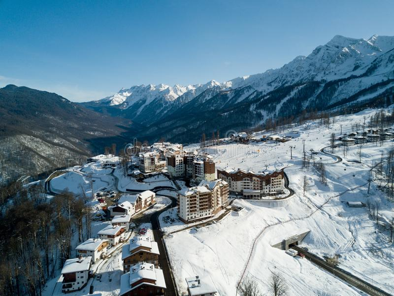 山的旅馆在索契 库存图片