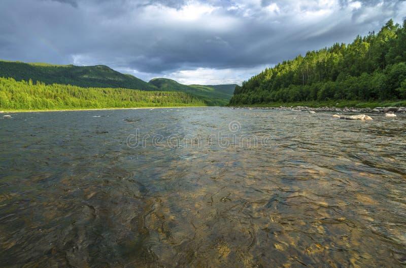 山的森林河在挪威 远足背景 库存照片