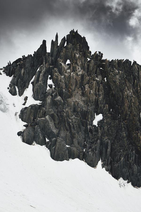 山的登山人在法国 库存照片