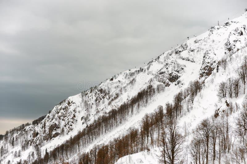 山的积雪的倾斜在一阴天 库存图片