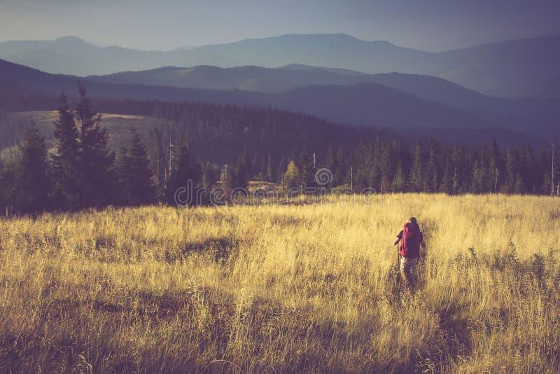 山的背包徒步旅行者 库存照片