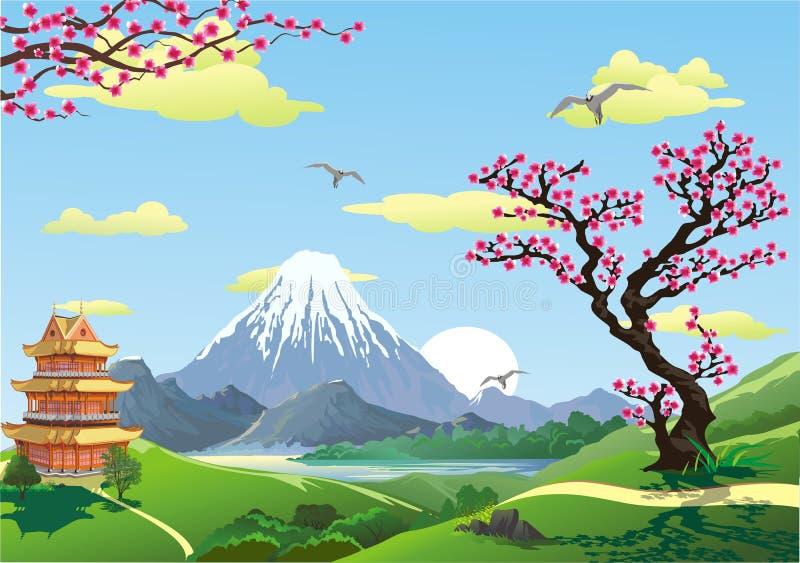 山的脚的日本塔 开花樱桃 在山的日出 皇族释放例证