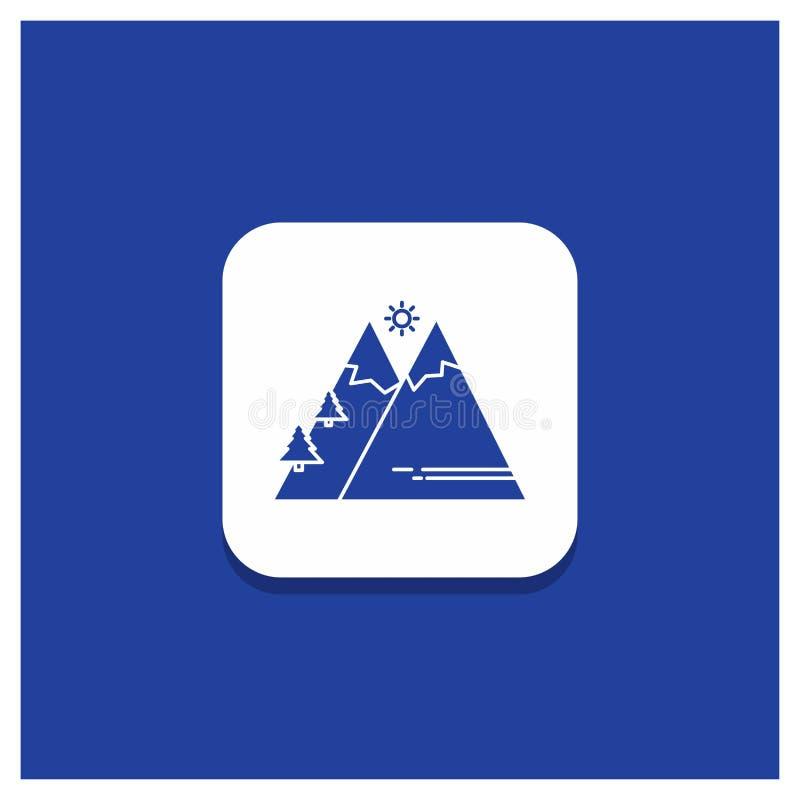 山的蓝色圆的按钮,自然,室外,太阳,远足纵的沟纹象 向量例证