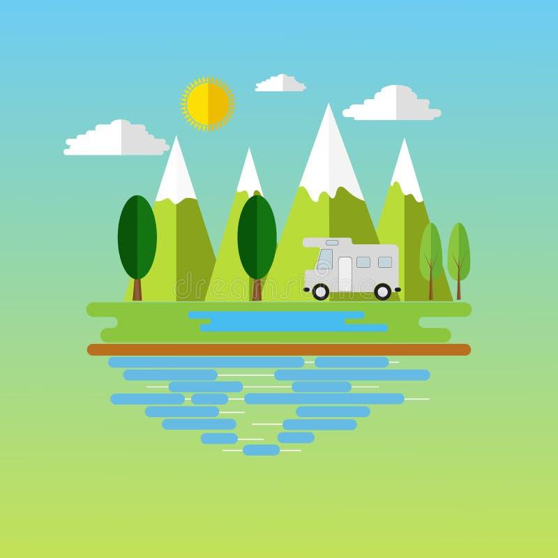 山的露营地地方 与旅客有蓬卡车的森林野营的风景在平的设计 库存例证