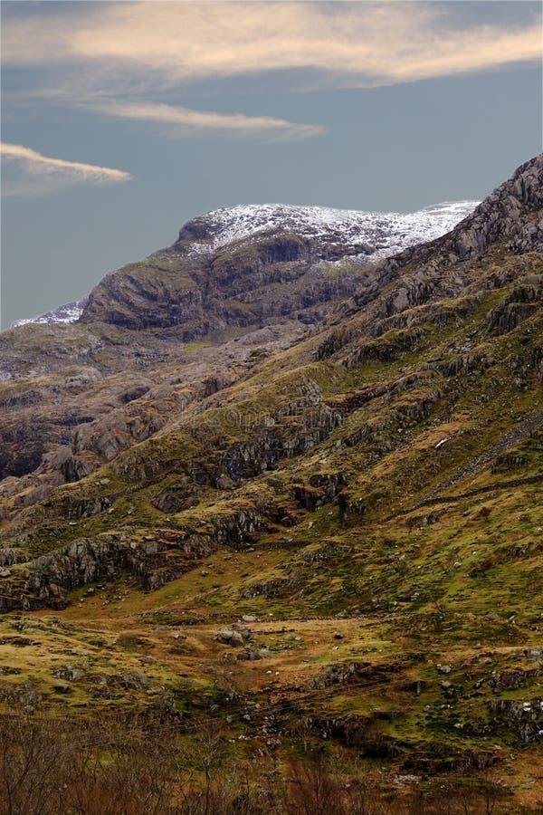 山积雪覆盖的威尔士 免版税库存图片