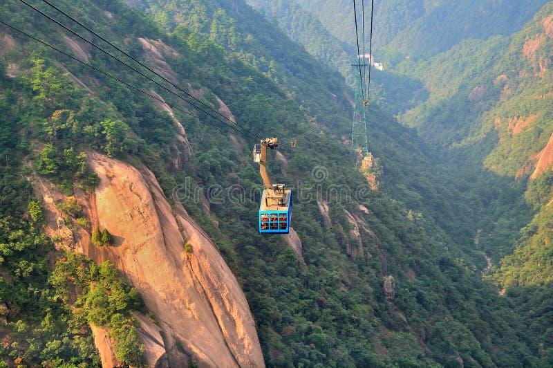 黄山缆绳塔,难以置信的瓷 图库摄影