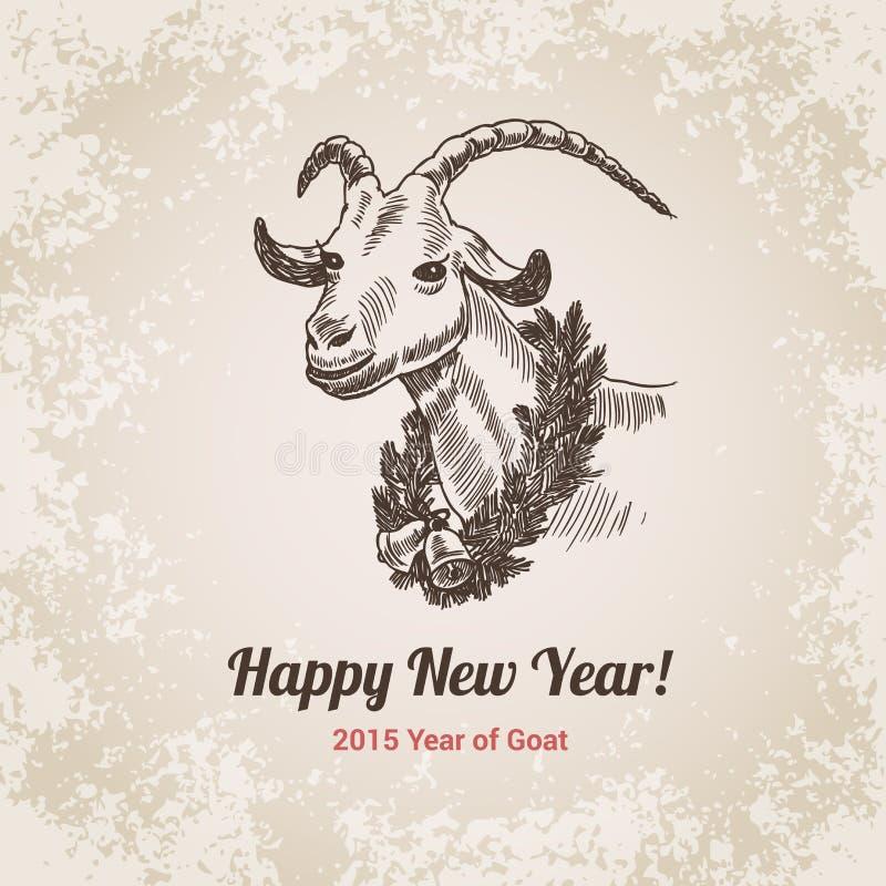 2015年山羊农历新年手拉的板刻样式模板 皇族释放例证