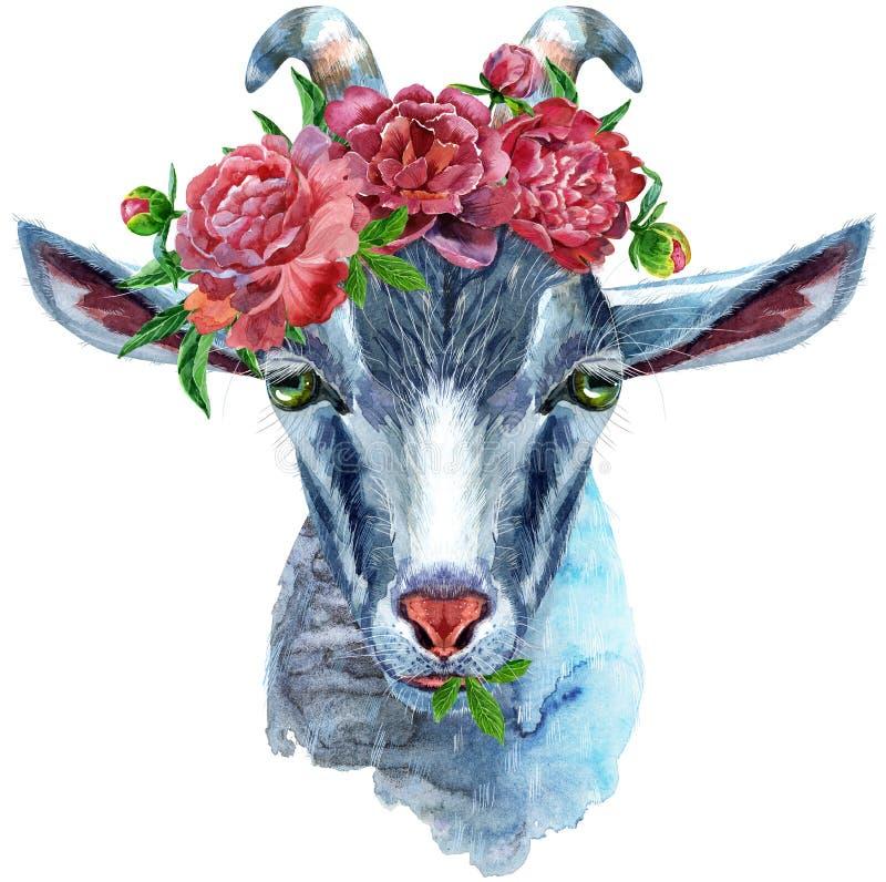 山羊占星字符在白色背景隔绝的水彩例证 皇族释放例证