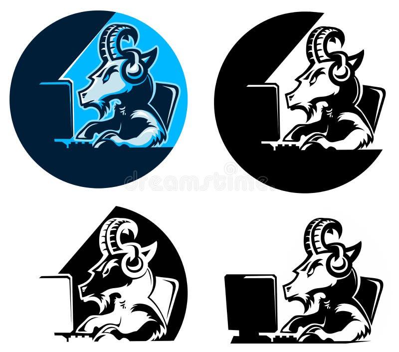 山羊商标网络体育 向量例证