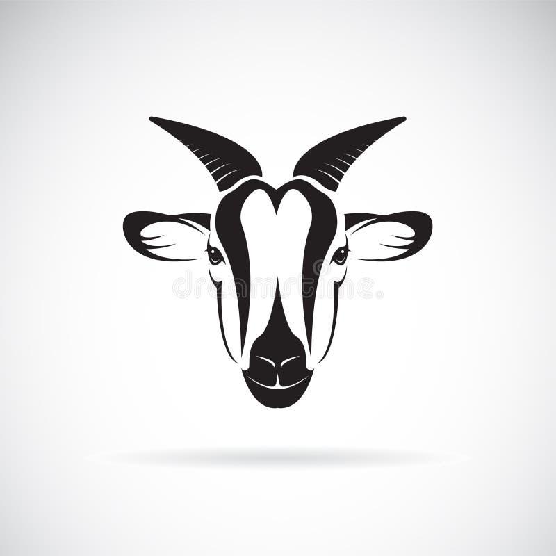 山羊在白色背景的头设计传染媒介  通配的动物 库存例证