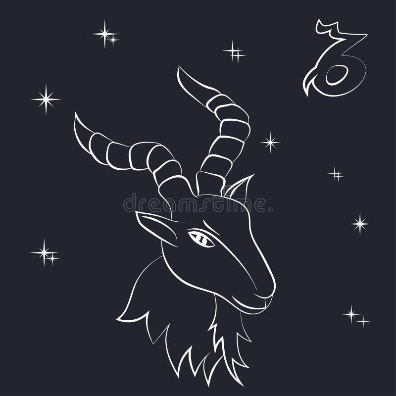 山羊座白色概述在黑背景 库存例证