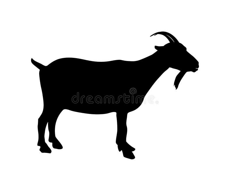 山羊象黑色剪影 向量例证