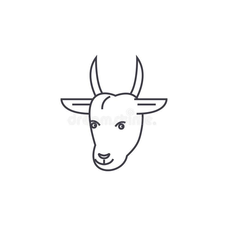 山羊顶头传染媒介线象,标志,在背景,编辑可能的冲程的例证 库存例证