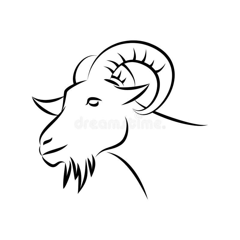 山羊顶头剪影 皇族释放例证