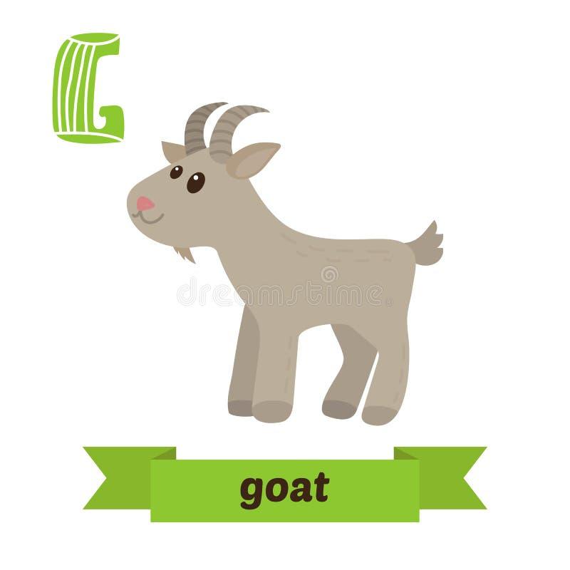 山羊 G信件 逗人喜爱的在传染媒介的儿童动物字母表 滑稽的c 皇族释放例证