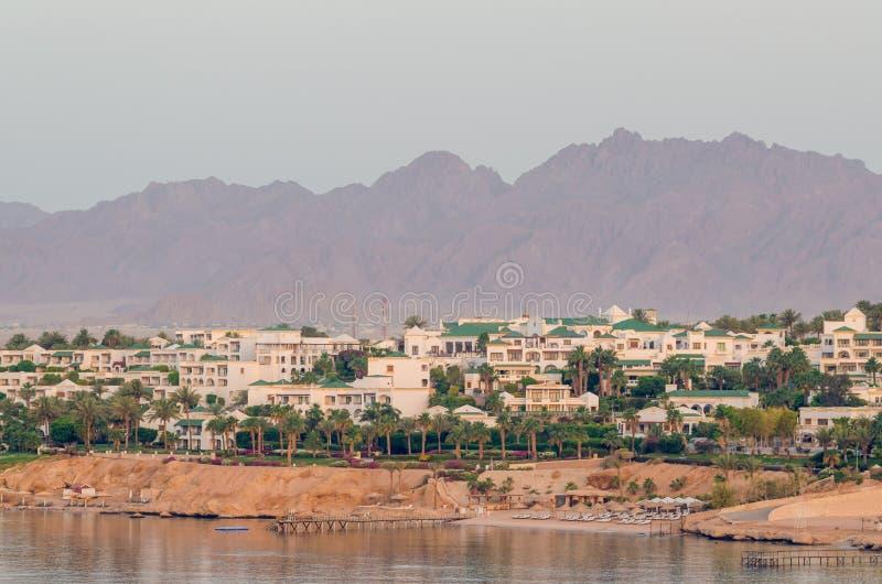 山背景的,沙姆沙伊赫,埃及度假旅馆 图库摄影