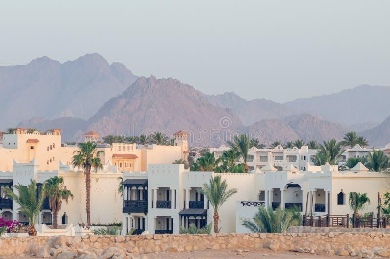 山背景的,沙姆沙伊赫,埃及度假旅馆 库存图片