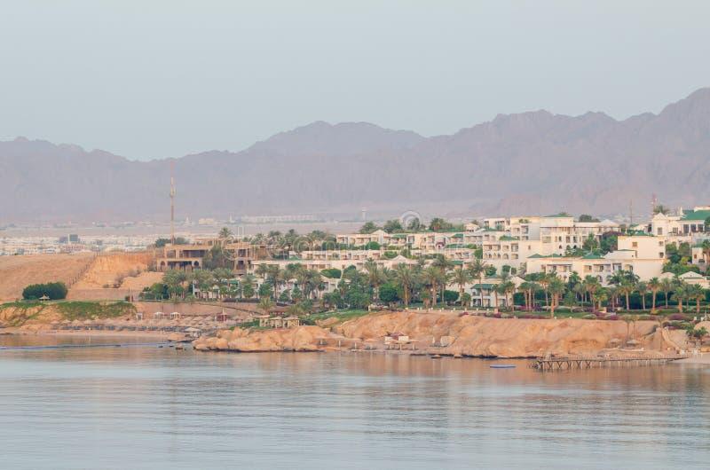 山背景的,沙姆沙伊赫,埃及度假旅馆 库存照片