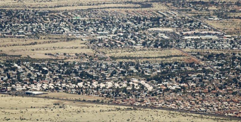 山脉景色,亚利桑那, Lenzner大道地区的一张鸟瞰图 库存照片