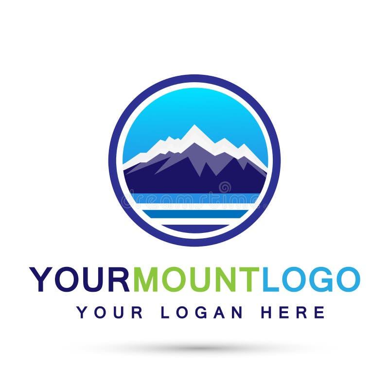 山脉海雪冰上面商标圈子象标志在白色背景的商标设计 皇族释放例证