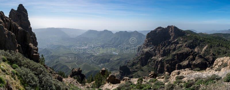 山脉,从Pico de las Nieves,大加那利岛,西班牙的看法 库存图片