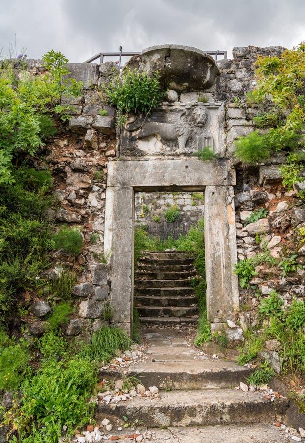 山腰的科托尔堡垒在老镇上在黑山 库存图片